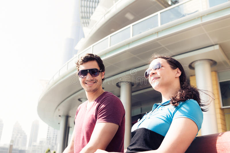 Download Tourists Sightseeing In Dubai Stock Image - Image of sunglasses, caucasian: 83724707