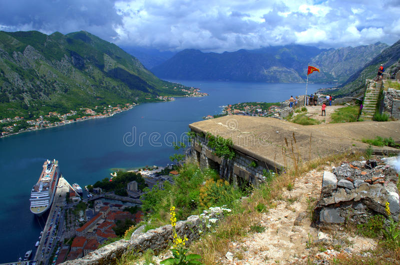 Tourists sightseeing on old Kotor fortress stock photography