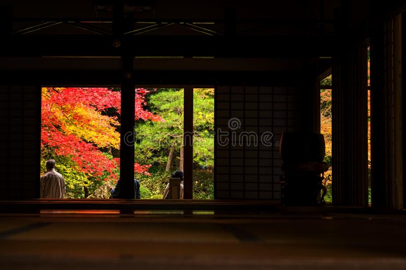 Tourists enjoy autumn at Nanzen-ji, Kyoto royalty free stock photo