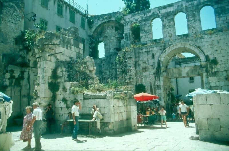 Tourists in Split, Croatia stock photos