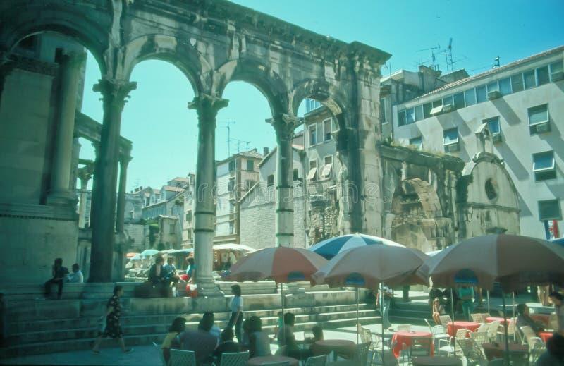Tourists in Split, Croatia royalty free stock photography