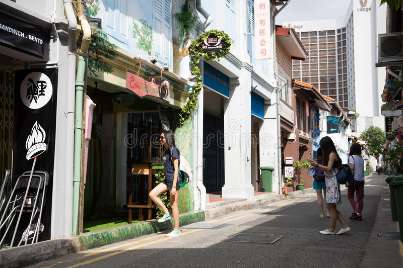Tourists in the streets of the Arab quarter, Singapore royalty free stock photography