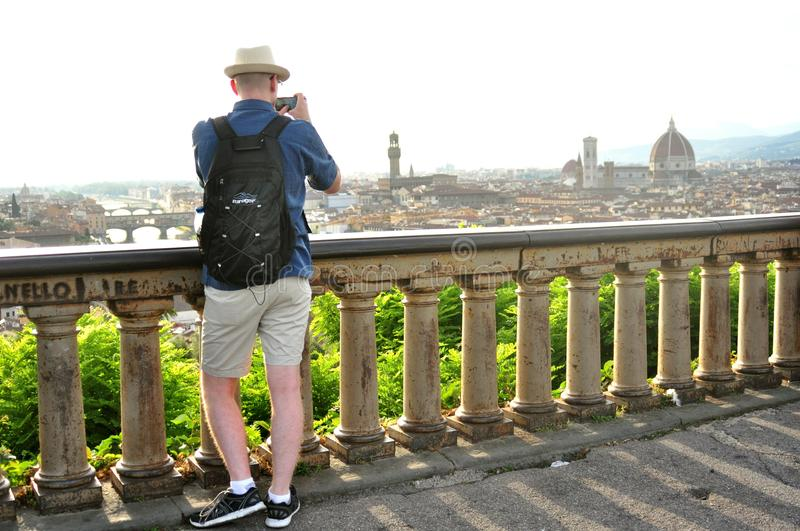 Tourists on the streets of Florence , Italy royalty free stock photography