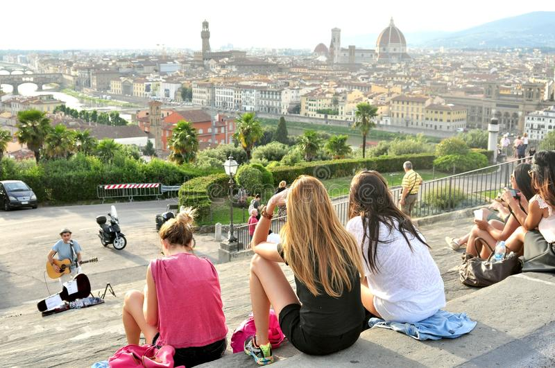 Tourists on the streets of Florence , Italy stock images