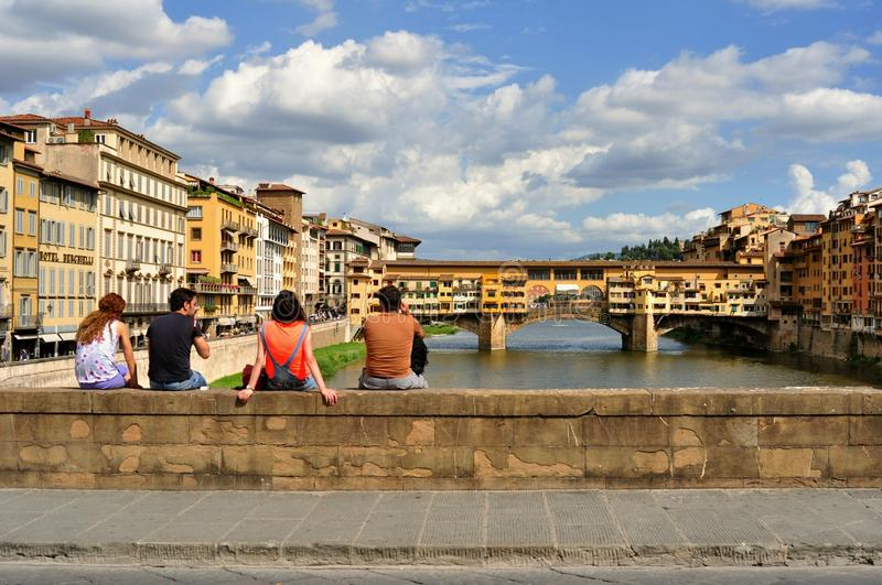 Tourists on the streets of Florence city , Italy stock images