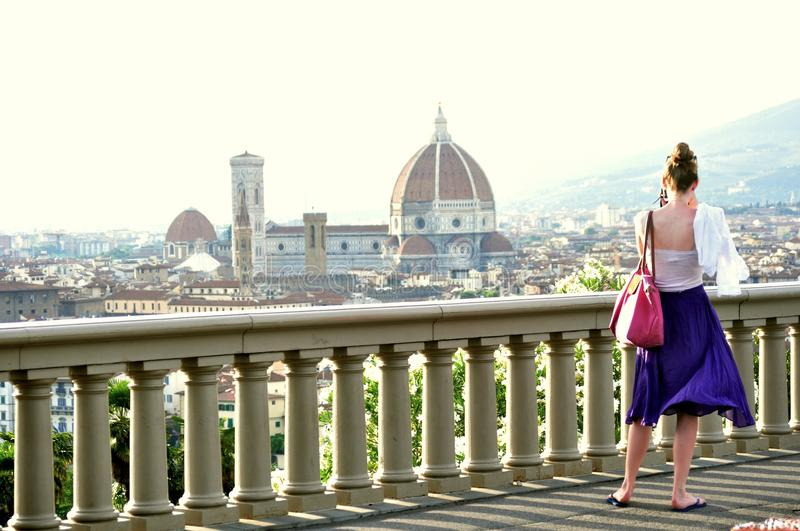 Tourists on the streets of Florence , Italy royalty free stock images