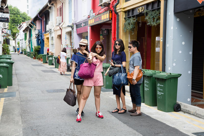 Tourists in streets of the Kampong Glam stock photography