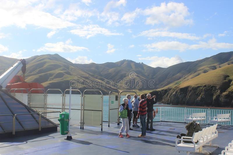 Holiday people on ferry Cook strait new zealand stock images