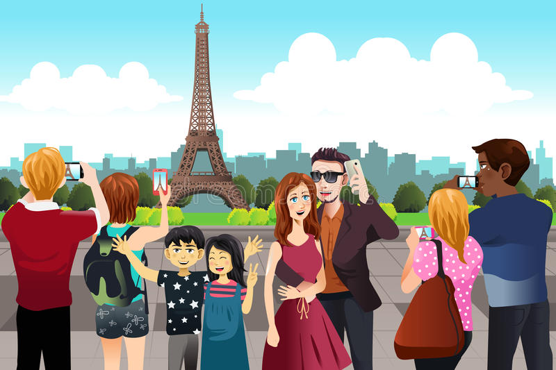 Tourists Taking Picture Near Eiffel Tower. A vector illustration of Tourists Taking Picture Near Eiffel Tower vector illustration