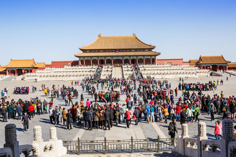 Tourists to visit Beijing the Forbidden City in China royalty free stock image