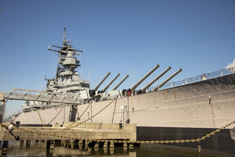 Tourists on USS WIsconsin battleship stock photography