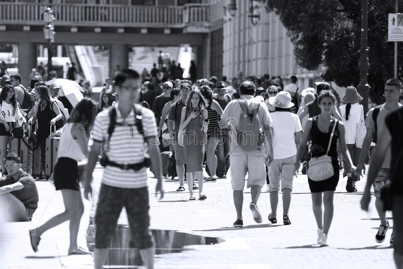 Crowd of tourists in Venice, Italy stock photo