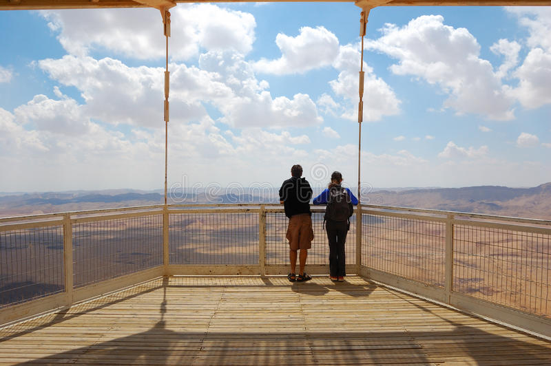Tourists Viewing Canyon, Israel stock photography