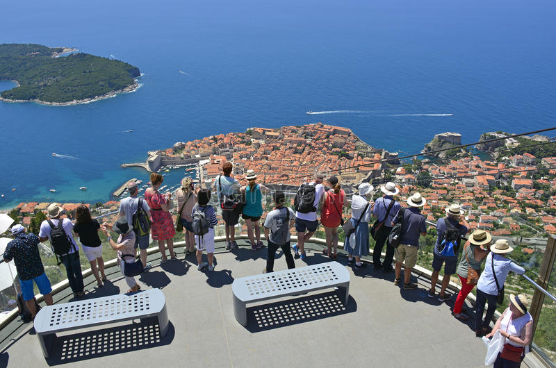 Tourists Viewing Dubrovnik stock photo