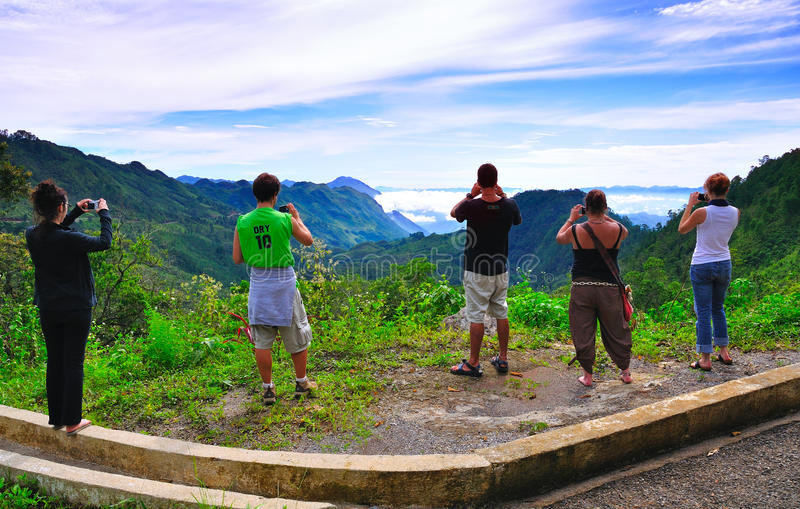 Tourists viewing Guatemala landscape royalty free stock images