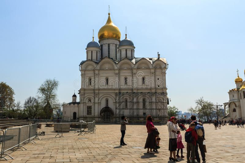 Tourists visit The Cathedral of the Archangel is the largest church in the Moscow. royalty free stock photography