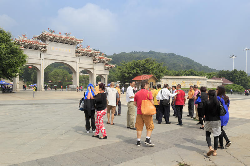 Tourists visit chi gong. Green reef (qingjiao ) tzu chi palace is located in the haicang district of xiamen city, china, worship the famous doctor wutao of the royalty free stock photos