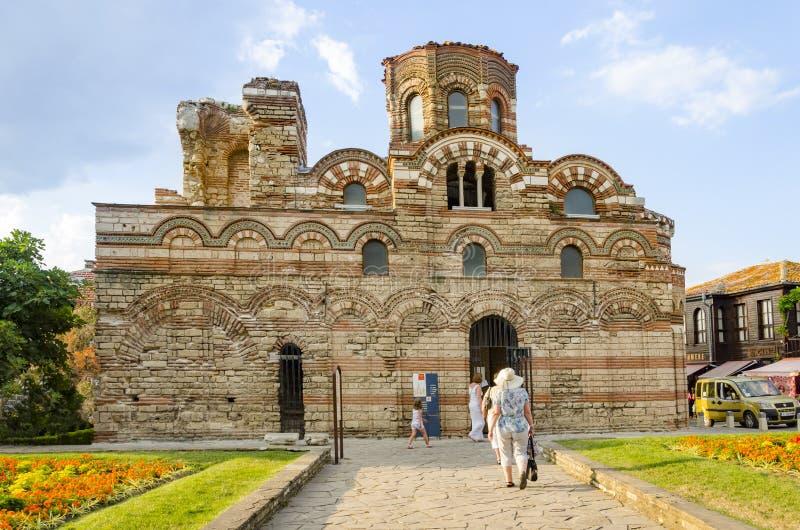 Tourists visit The Church of Christ Pantocrator, Nesebar stock photos