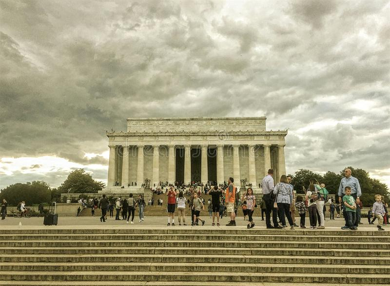 Tourists visit Lincoln Memorial, Washington DC, USA royalty free stock image