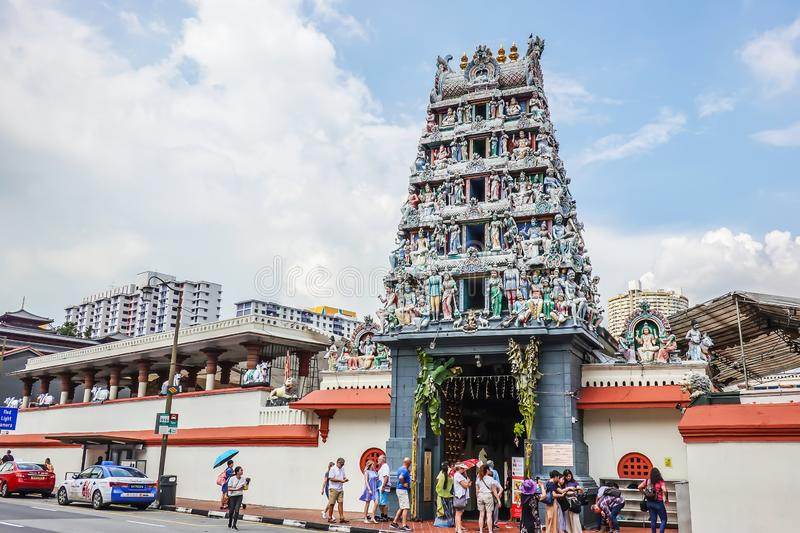 Tourists visit and take pictures of the Sri Mariamman Hindu Temple in Chinatown, Singapore stock photos