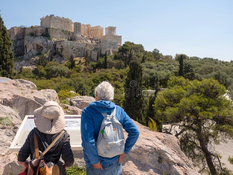 Tourists visit the temple of Parthenon, Athens royalty free stock photo