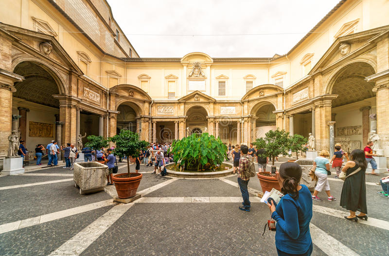 Tourists visit the Vatican Museum in Rome stock photos