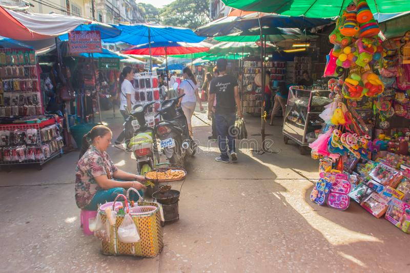 Tourists visited Tachileik border market from Mae Sai, Thailand. Tachilek or Tha Khi Lek is a border town in the Shan State of eas royalty free stock photo