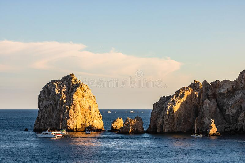 Tourists visiting The Arch at Land`s End by boat, Cabo San Lucas, Baja California, Mexico, 2020 stock photo