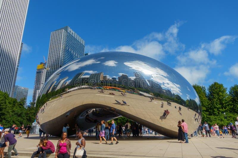 Tourists visiting the city landmark sculpture. royalty free stock photos