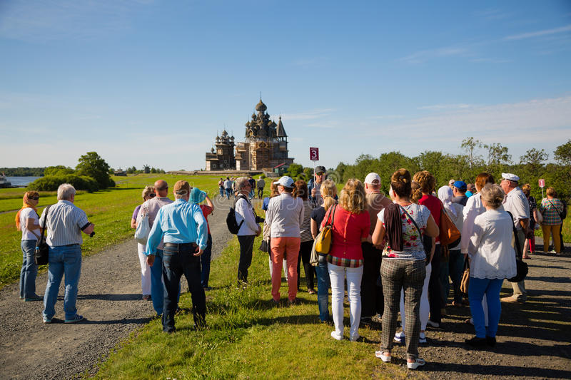 Tourists visiting on famous island of Kizhi in Russia royalty free stock photo