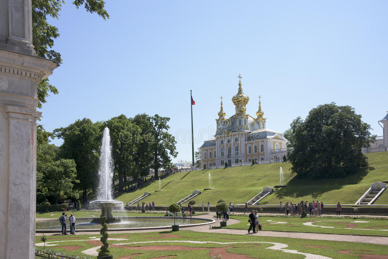 Tourists visiting the five-domed Church of courtier Saints Peter stock images