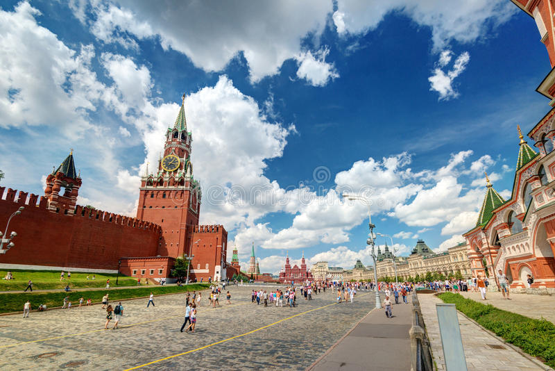 Tourists visiting the Red Square on july 13, 2013 in Moscow, Russia stock photo