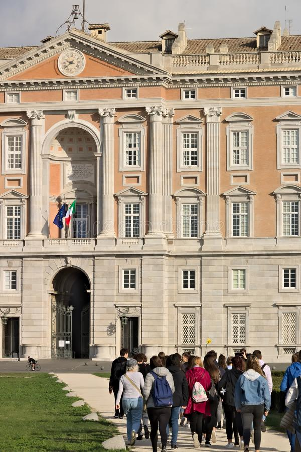Caserta, Italy. 27/10/2018. Tourists visiting the Royal Palace of Caserta stock image