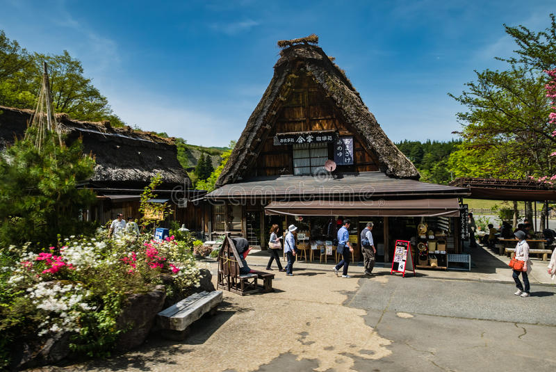 Tourists visiting Shirakawa-go stock photo