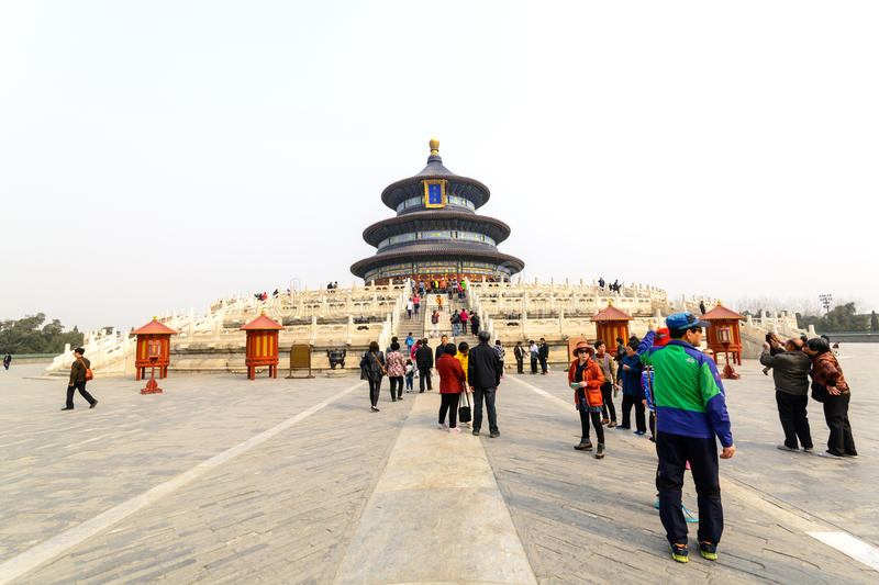 Tourists visiting the Temple of Heaven (Tiantan) royalty free stock photo