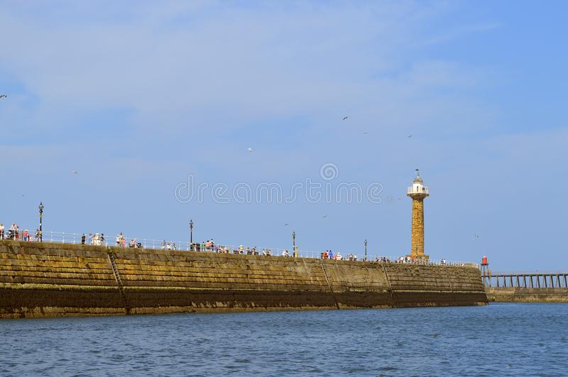 Whitby Harbour tourists royalty free stock photography