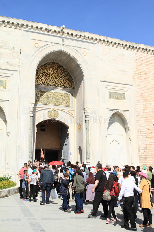 Tourists waiting in front of entrance to museum in Istanbul stock images