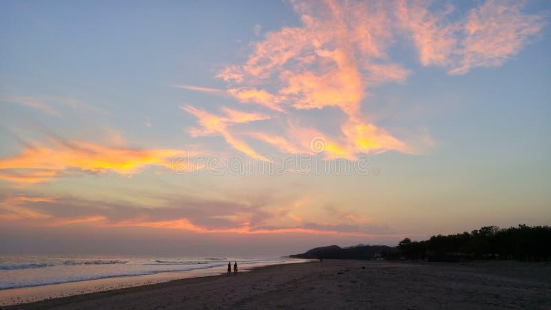 Sunset on beach near Popoyo, Nicaragua royalty free stock photos