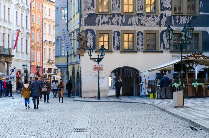 Tourists walk in historic center of city Stare Mesto, Prague, Czech Republic stock image