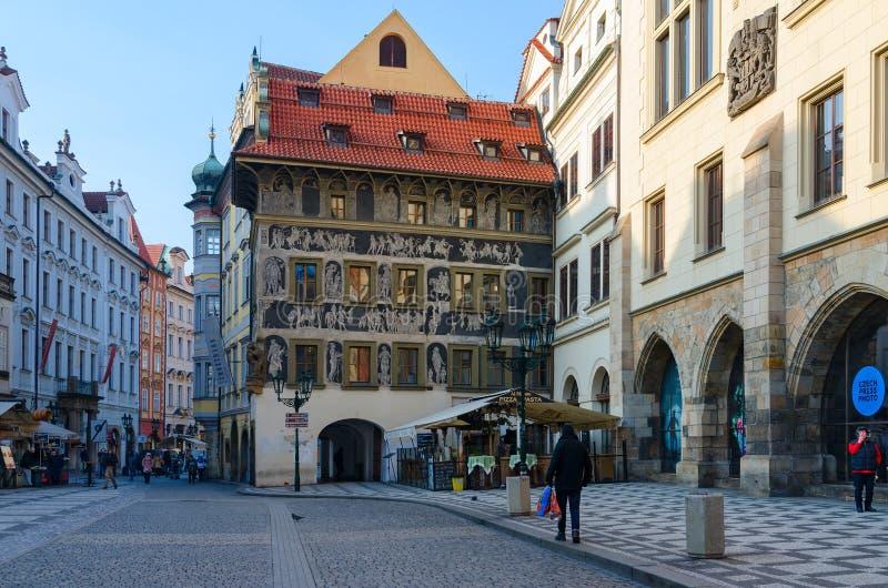 Tourists walk in historic center of city Stare Mesto, Prague, Czech Republic royalty free stock photos