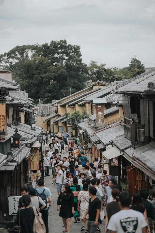 KYOTO, JAPAN, SEPTEMBER 14, 2017:Tourists walk on a street around Kiyomizu Temple. Kyoto Japan. Kiyomizu-dera was founded in the stock images