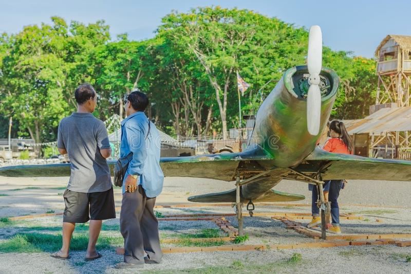Tourists watch Japanese replica fighter planes during World War II stock photography