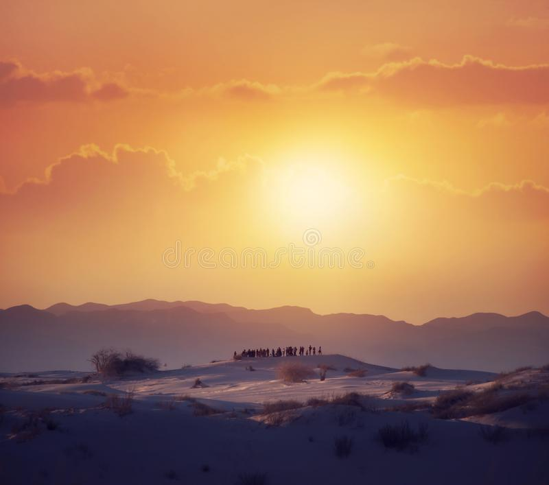 Tourists Watching A Desert Sunset. In  the White Sands National Monument in Alamogordo, New Mexico stock images