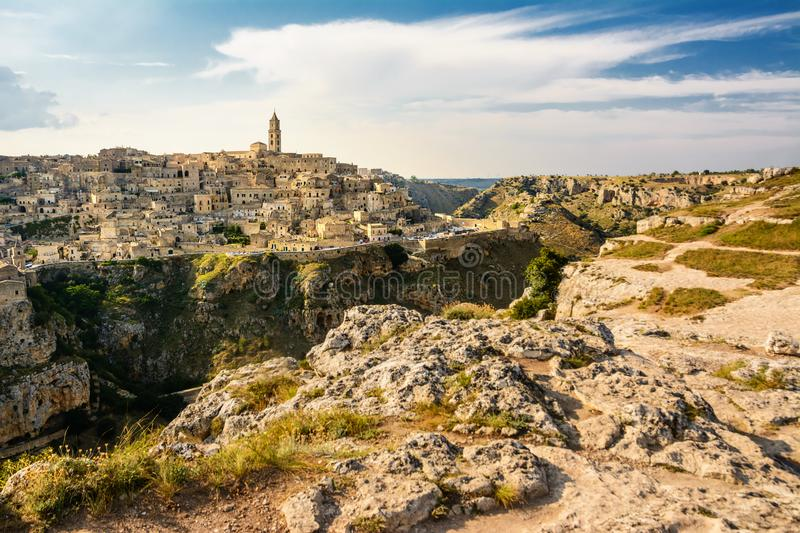 The panorama of the Sassi di Matera from the opposite hill. Panorama of the Sassi di Matera from the opposite hill royalty free stock photos