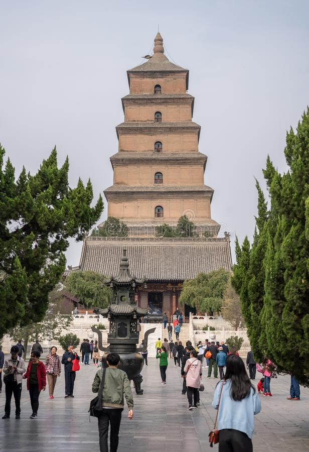 Tourists and worshippers at the Giant Wild Goose Pagoda royalty free stock photo