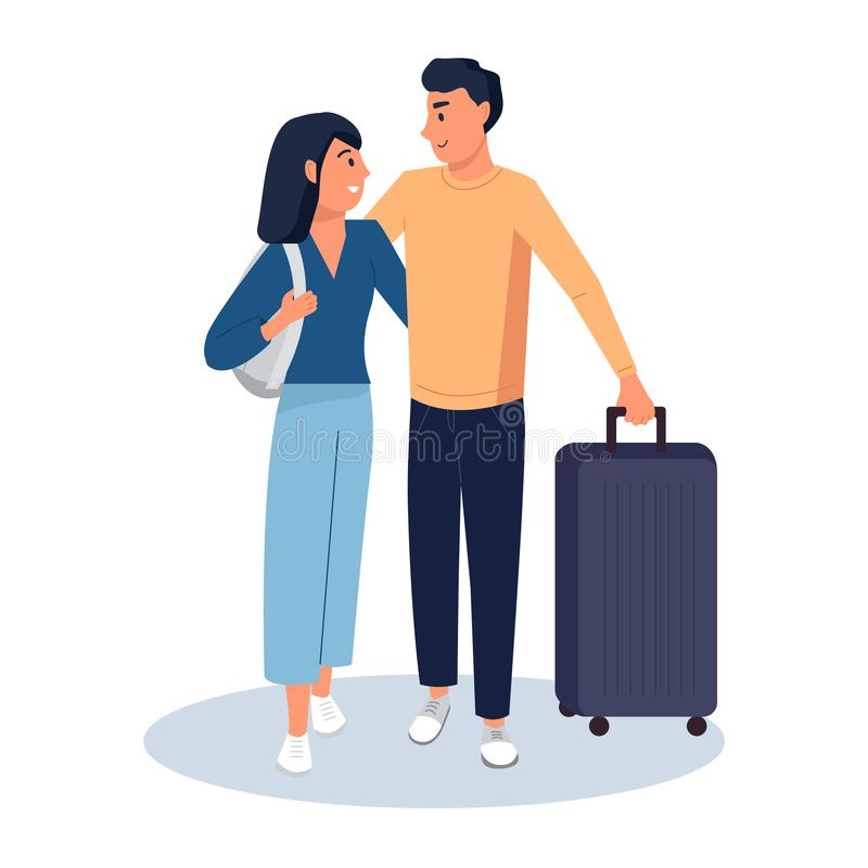 Tourists young couple going on travel with baggage. Flat cartoon vector illustration stock illustration
