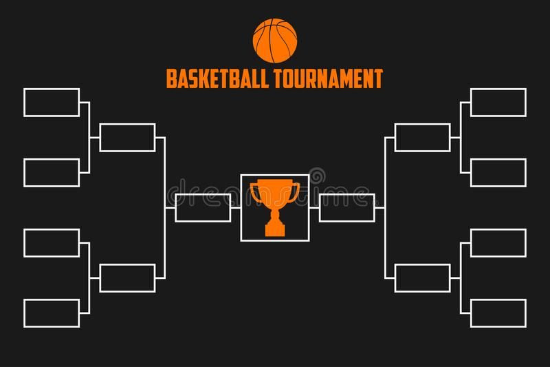 Tournament Bracket. Basketball championship scheme with trophy cup. Sport illustration. Vector. Tournament Bracket. Basketball championship scheme with trophy vector illustration