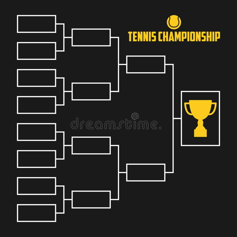 Tournament Bracket. Tennis championship scheme with trophy cup. Sport illustration. Vector. Tournament Bracket. Tennis championship scheme with trophy cup royalty free illustration