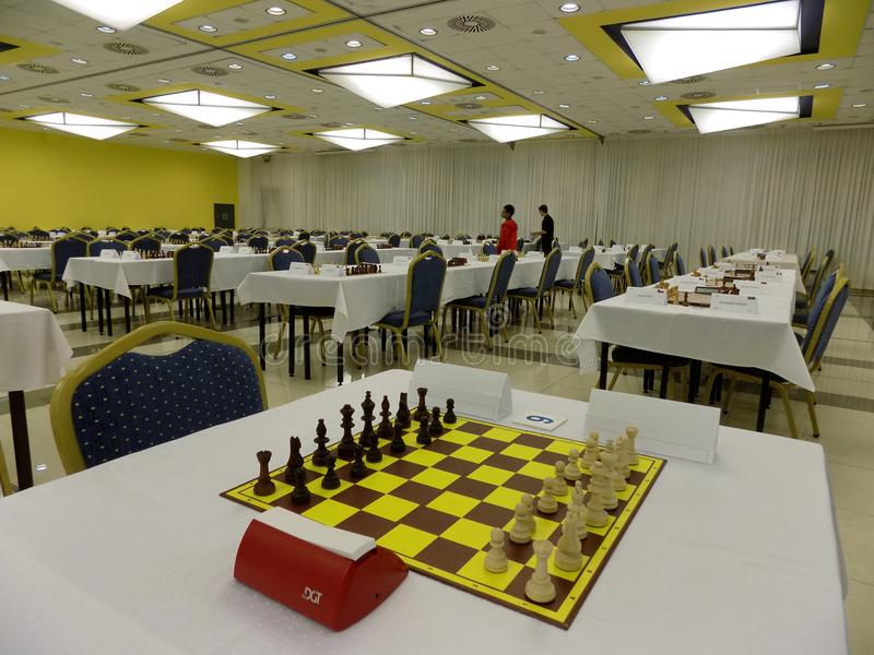 Tournament hall for playing chess stock image