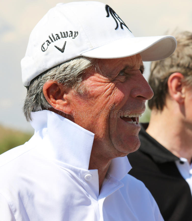 Tournament presenter and grand master Gary Player cracking some stock image